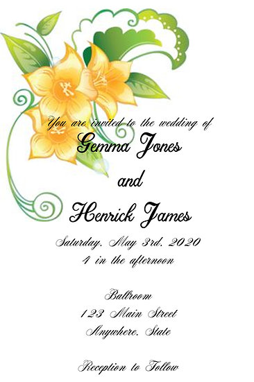 Yellow Flower Wedding Invitation