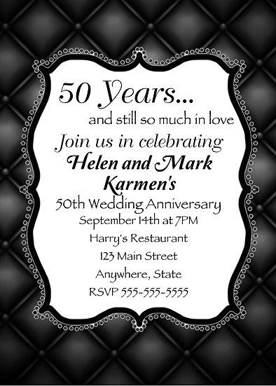 Elegant Black and White Anniversary Invitation