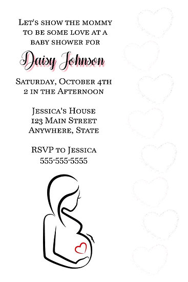 Belly Bump Hearts Baby Shower Invite