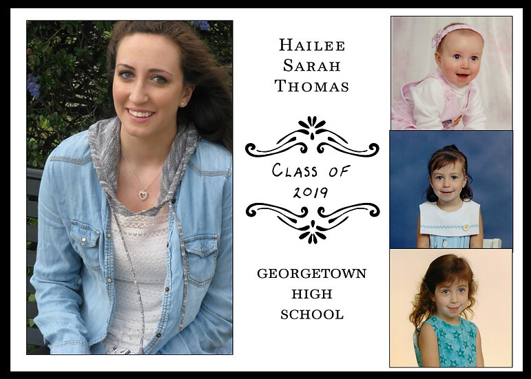 4 Photo Through the Years Graduation Announcement