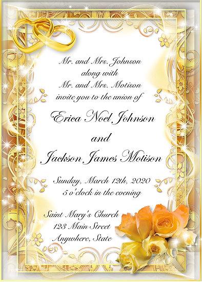 Gold Border Wedding Invitation