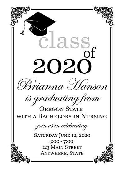Black and White Elegant Graduation Announcement