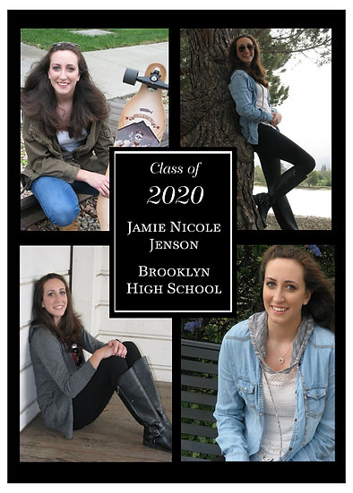 Black and White Block Graduation Announcement