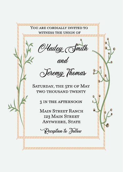 Peach and Vine Border Wedding Package