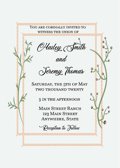 Peach and Vine Border Wedding Invitation