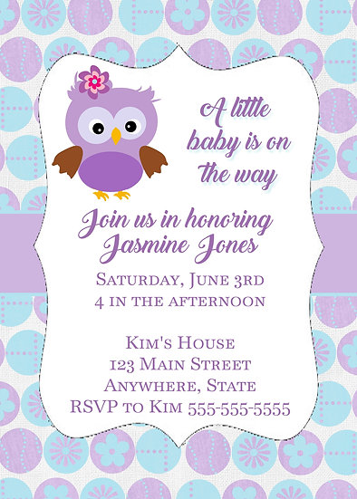 Purple Owl Baby Shower Invitation