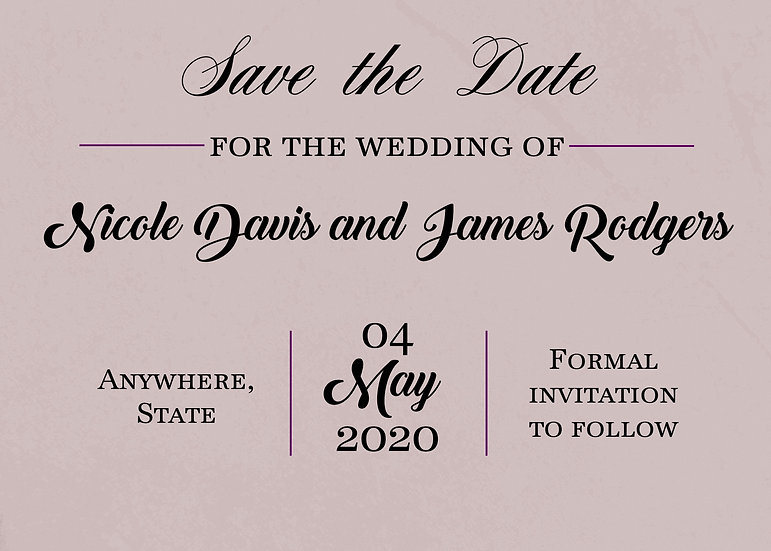 Purple Save the Date