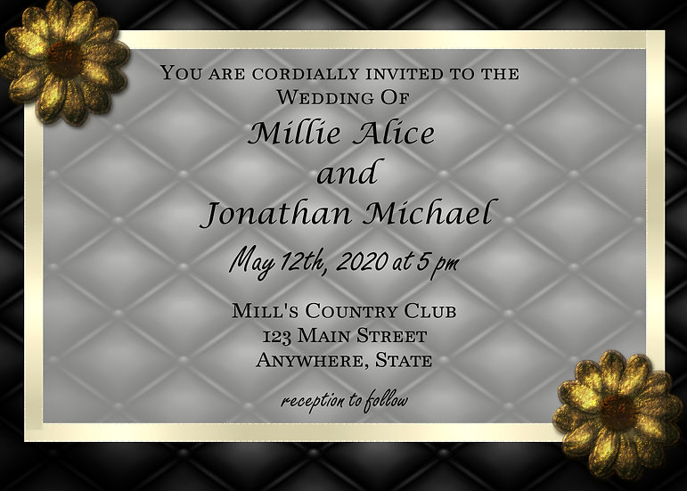 Black and Gold Flower Wedding Invitation
