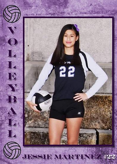 Purple Volleyball Sport Card