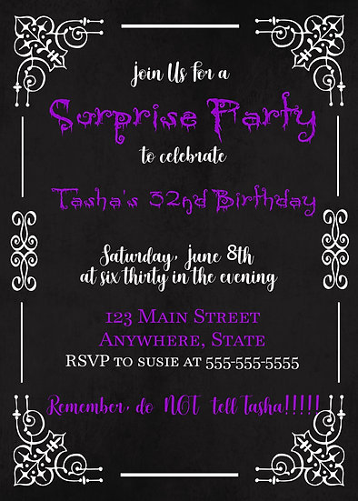 Purple and Black Spooky Birthday Invitation