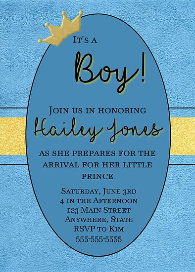 It's a Boy Prince Baby Shower Invitation