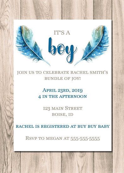 Wood Feather Baby Shower Invitation