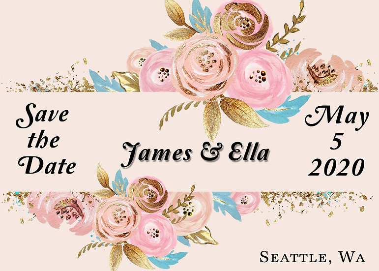 Pink and Blue Flower Save the Date
