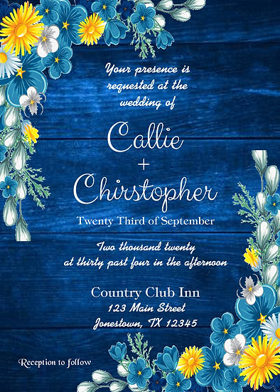 Blue Wood with Flowers Wedding Invitation Package