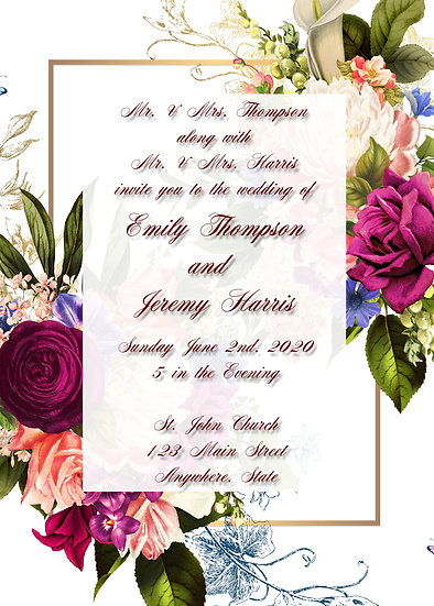 Pink Flower Frame Wedding Invitation