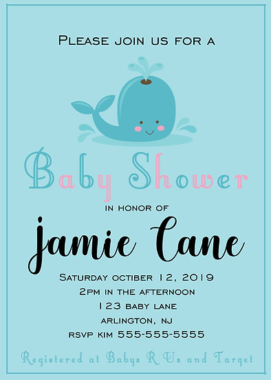 Baby Whale Baby Shower Invitation