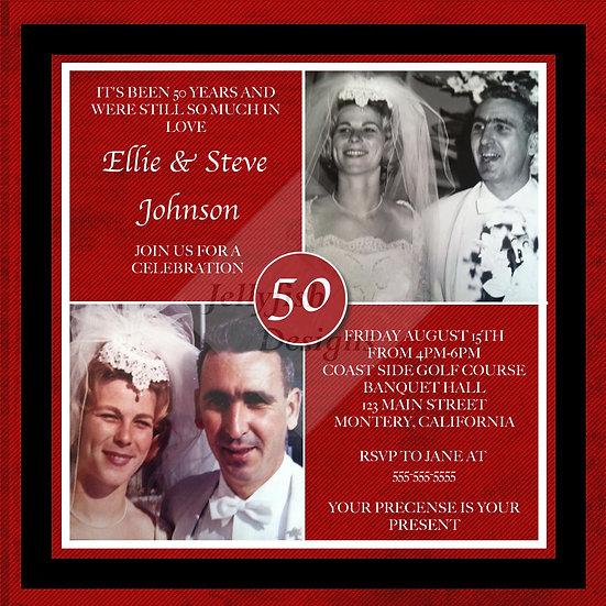 Square 50th Anniversary Invitation