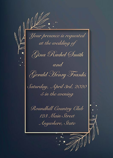 Blue and Gold Leaf Wedding Invitation