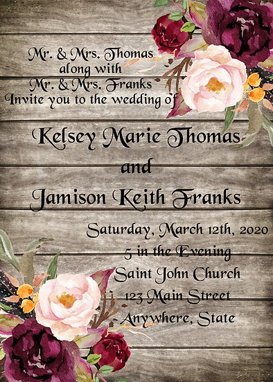 Wood and Maroon Flowers Wedding Invitation