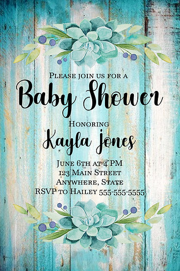 Teal Wood and Flower Baby Shower Invite