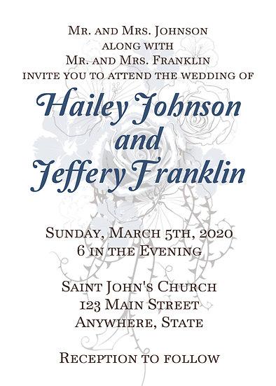 Faded Blue Flower Wedding Invitation