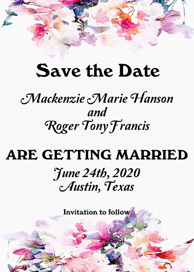 Pink Watercolor Flower Save the Date