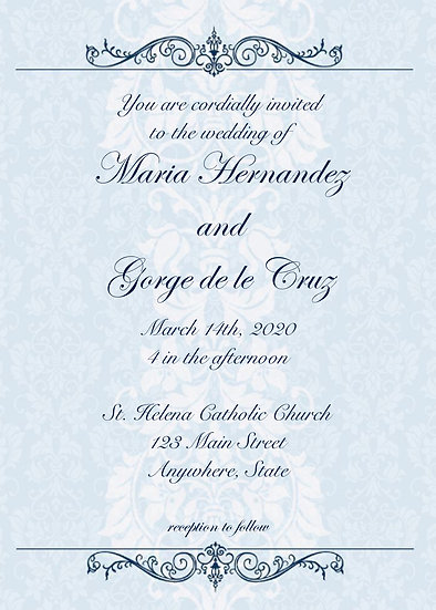 Blue Elegant Wedding Invitation