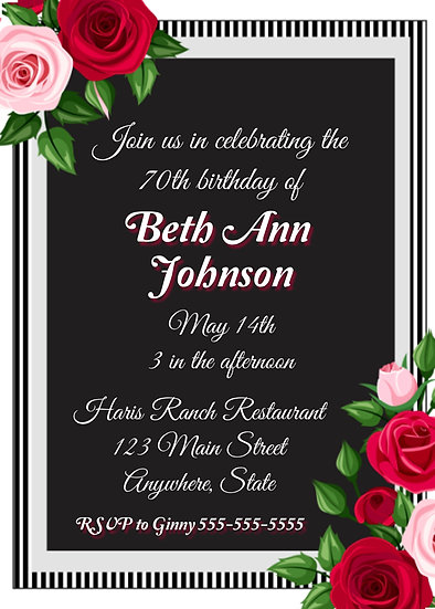 Pink and Red Rose Birthday Invitation