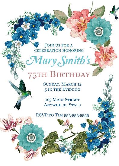 Flower and Hummingbird Birthday Invitation