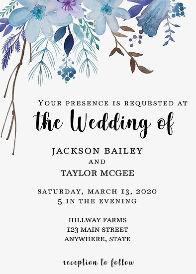 Blue Watercolor Flower Wedding Invitation Package