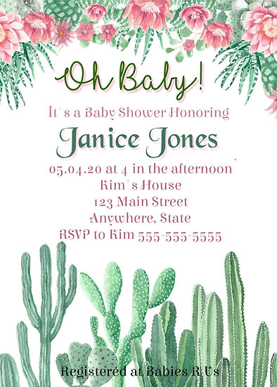 Cactus and Flower Baby Shower Invitation