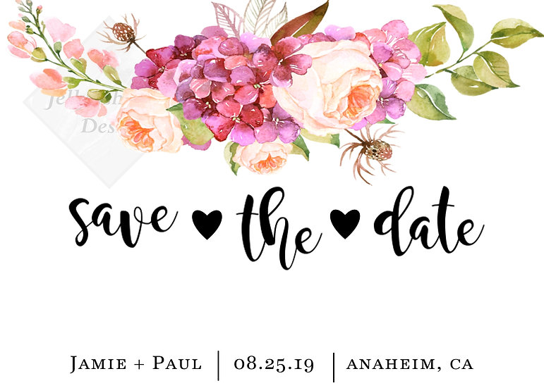 Watercolor Flower Save the Date