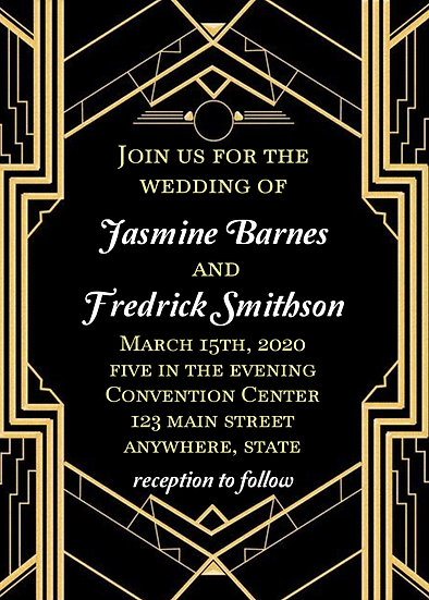Roaring 20s Theme Wedding Invitation
