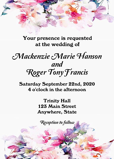 Pink Watercolor Flower Wedding Invitation