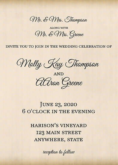 Elegant Tan Wedding Invitation