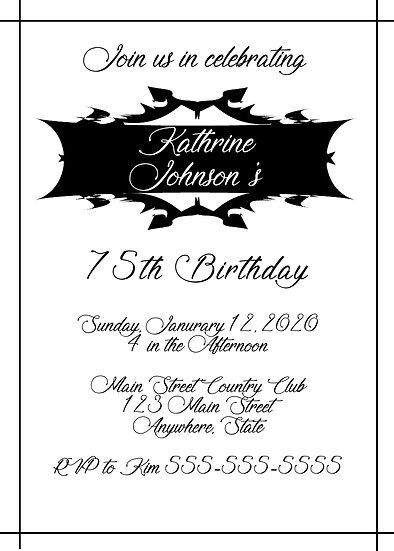 Black Box Birthday Invitation
