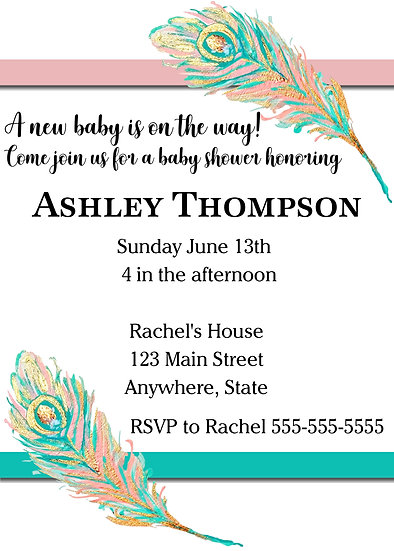 Teal and Pink Feather Baby Shower