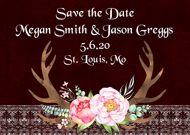 Antler and Lace Save the Date