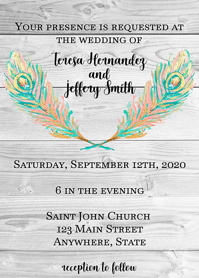 Teal and Pink Feather Wedding Invitation