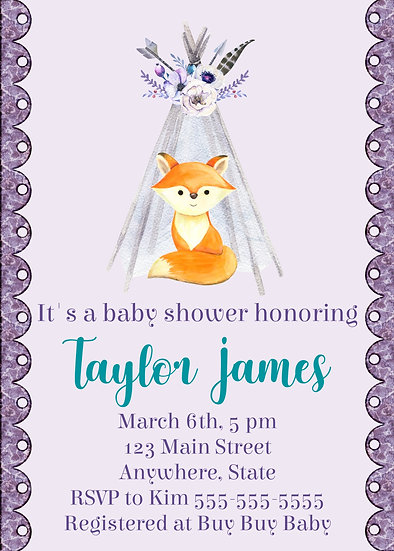 Fox and Teepee Baby Shower
