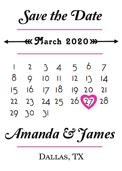 Pink and Black Calendar Save the Date