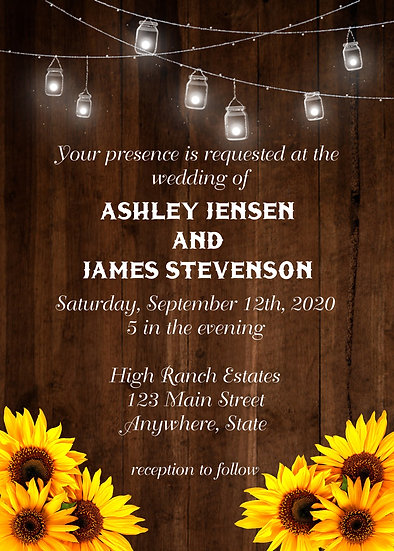 Mason Jar and Sunflower Wedding Invitation