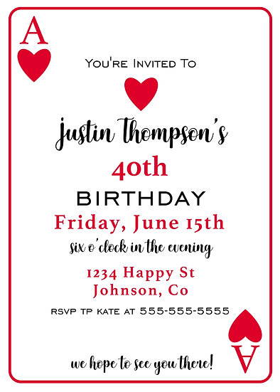 Playing Card Birthday Invitation (can be any age)