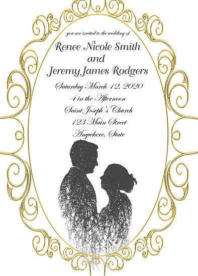 Gold Frame Silhouette Wedding Invitation