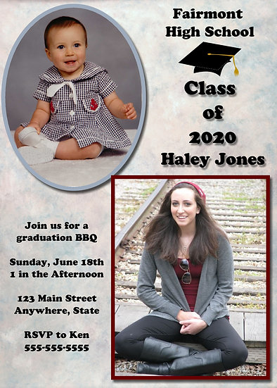 Baby to Adult Pic Graduation Announcement