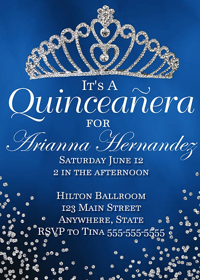 Blue and Silver Crown Quinceanera Invitation