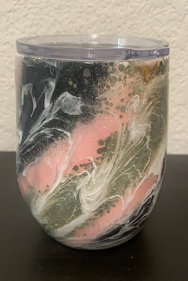 Pink and Silver Marbled Wine Tumbler