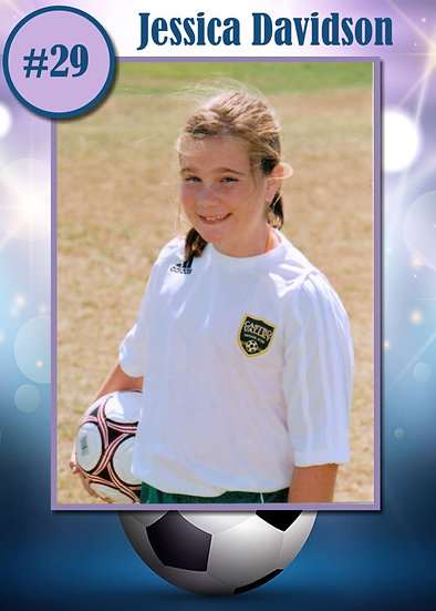 Blue and Purple Soccer Sport Card
