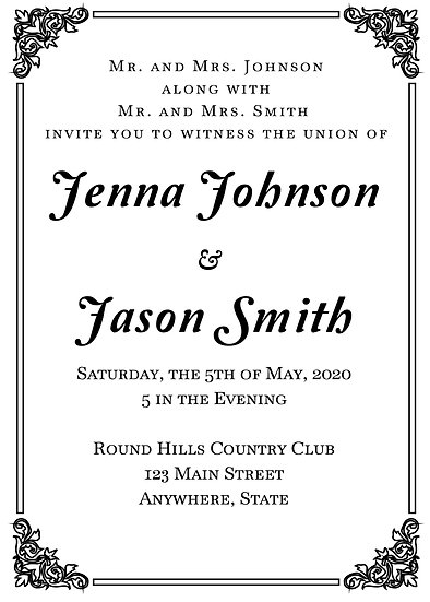 Metallic Name Black Border Wedding Invitation