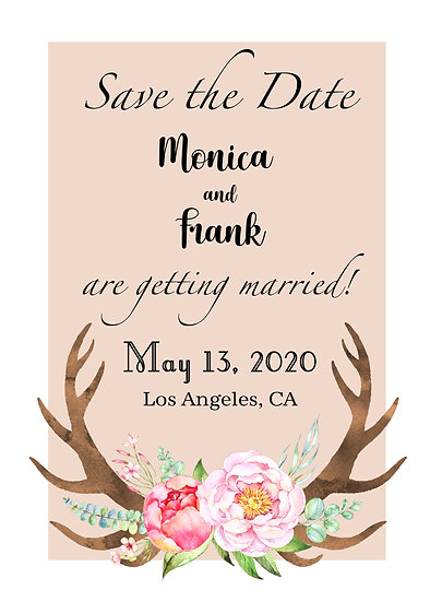 Pink Flower Antler Save the Date